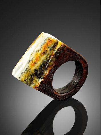 Boho Style Wooden Ring With Amber The Indonesia, Ring Size: 5 / 15.5, image , picture 2
