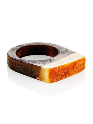 Stylish Wooden Ring With Honey Amber Stone The Indonesia, Ring Size: 9.5 / 19.5, image , picture 3