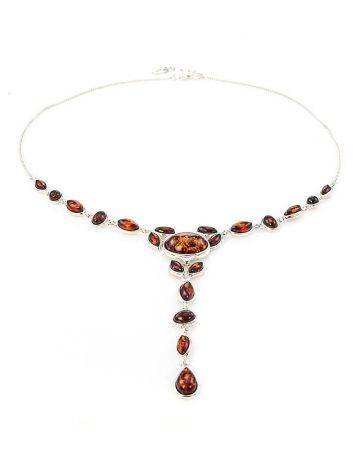 Refined Silver Necklace With Cognac Amber The Josephine, image , picture 5