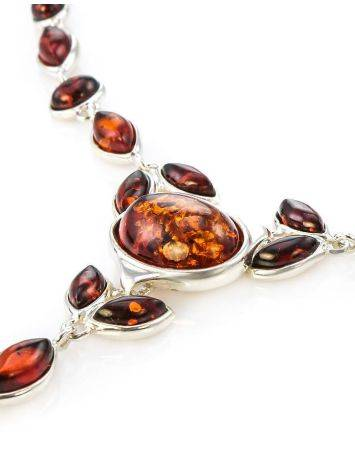Refined Silver Necklace With Cognac Amber The Josephine, image , picture 4