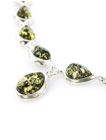 Refined Silver Necklace With Green Amber The Fiori, image , picture 2