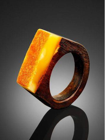 Stylish Wooden Ring With Honey Amber Stone The Indonesia, Ring Size: 9.5 / 19.5, image , picture 2