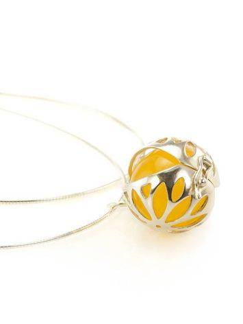 Silver Pendant Necklace With Honey Amber, image , picture 4
