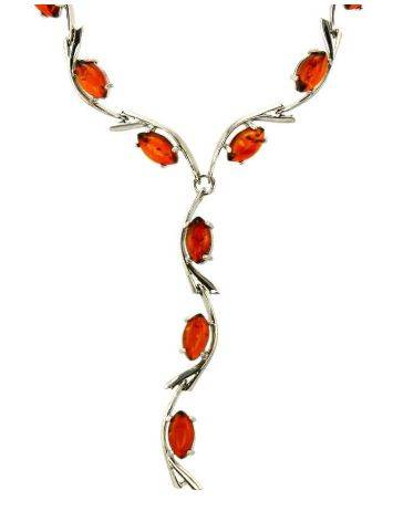 Cognac Amber Necklace In Sterling Silver The Verbena, image , picture 3