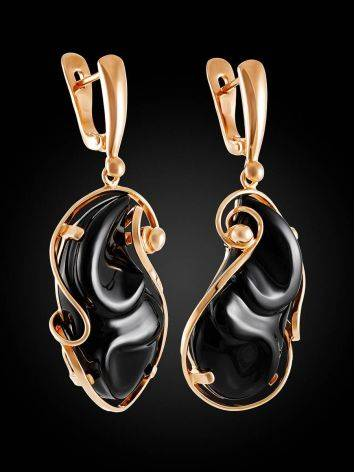 Gold Plated Silver Dangles With Onyx The Serenade, image , picture 3