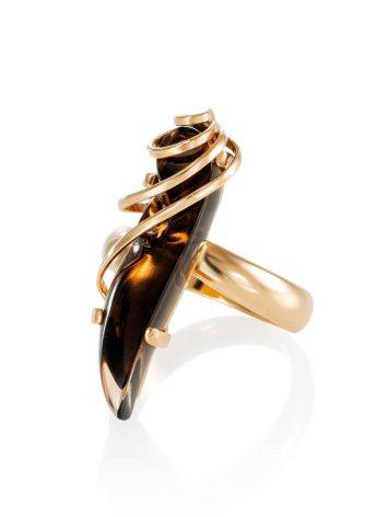 Smoky Quartz Gold Plated Silver Ring The Serenade, Ring Size: Adjustable, image , picture 3