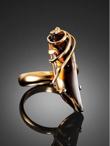 Smoky Quartz Gold Plated Silver Ring The Serenade, Ring Size: Adjustable, image , picture 2