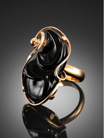 Black Synthetic Onyx Cocktail Ring In Gold-Plated Silver The Serenade, Ring Size: Adjustable, image , picture 2