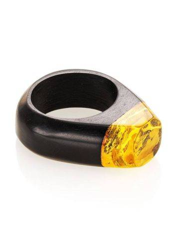 Hornbeam Wood Ring With Lemon Amber The Indonesia, Ring Size: 9.5 / 19.5, image , picture 3