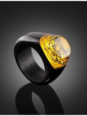 Hornbeam Wood Ring With Lemon Amber The Indonesia, Ring Size: 9.5 / 19.5, image , picture 2