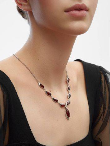 Wonderful Silver Necklace With Cognac Amber The Taurus, image , picture 2