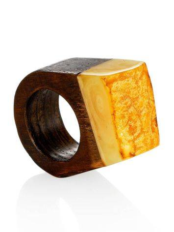 Ethnic Style Wooden Amber Ring The Indonesia, Ring Size: 4 / 15, image