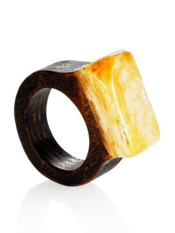 Ethnic Style Wooden Amber Ring The Indonesia, Ring Size: 6 / 16.5, image