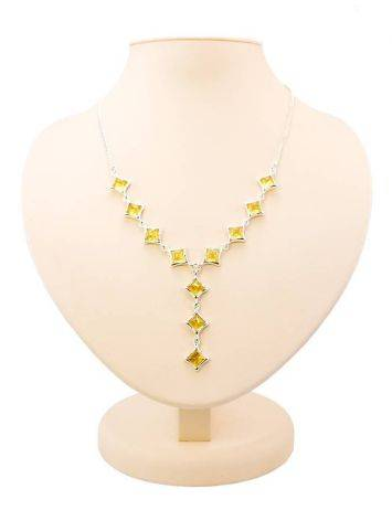 Gorgeous Natural Amber Necklace In Sterling Silver, image