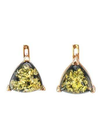 Casual Style Gold Plated Silver Earrings With Green Amber The Etude, image