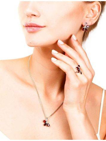 Chic Silver Earrings With Garnet The Flora, image , picture 3