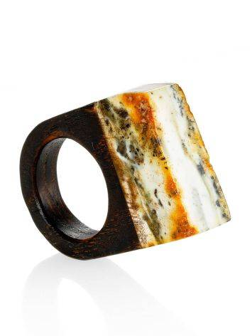 Boho Style Wooden Ring With Amber The Indonesia, Ring Size: 5 / 15.5, image
