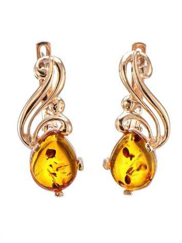 Chic Gold Plated Silver Amber Earrings The Swan, image