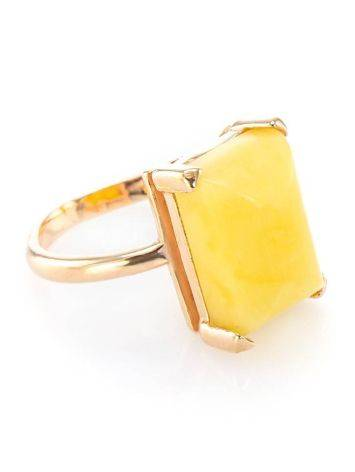 Geometric Gold Plated Silver Ring With Honey Amber Centerstone The Etude, Ring Size: 7 / 17.5, image