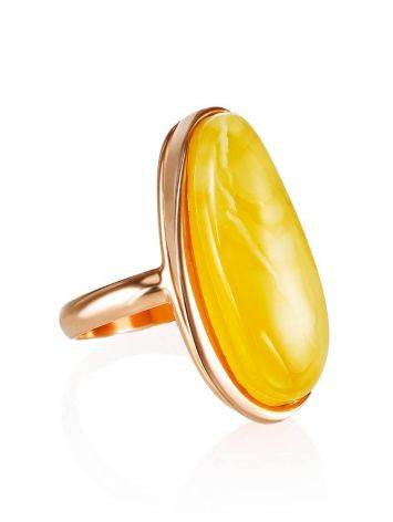Gold Plated Silver Ring With Honey Amber The Glow, Ring Size: 8 / 18, image
