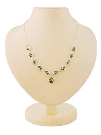 Refined Silver Necklace With Green Amber The Fiori, image