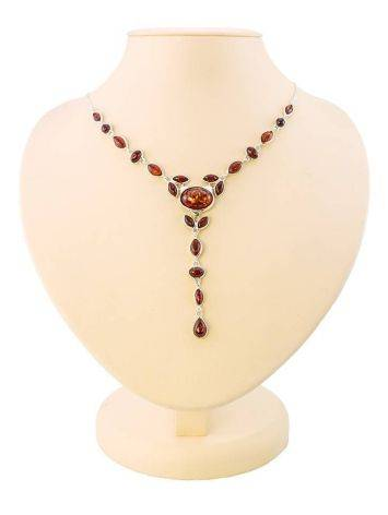 Refined Silver Necklace With Cognac Amber The Josephine, image