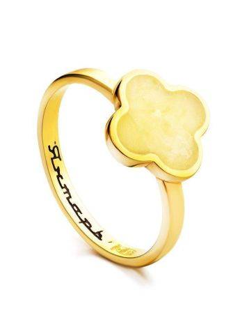 Clover Shaped Amber Ring In Gold-Plated Silver The Monaco, Ring Size: 6 / 16.5, image