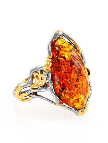 Gold-Plated Cocktail Ring With Cognac Amber The Triumph, Ring Size: Adjustable, image