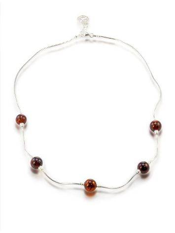 Sterling Silver Necklace With Cherry Amber Beads, image , picture 4