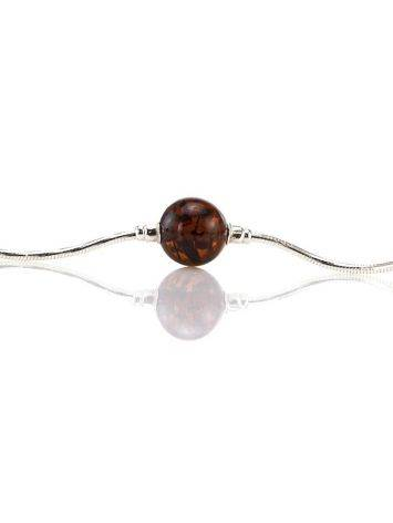 Sterling Silver Necklace With Cherry Amber Beads, image , picture 3