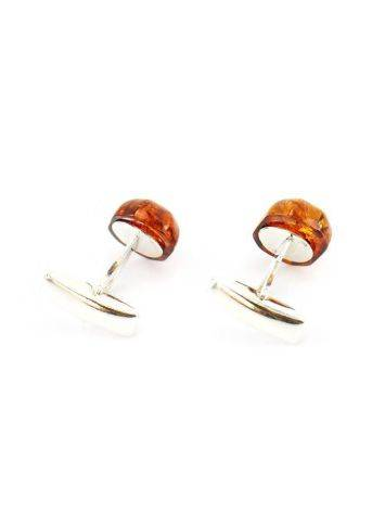 Geometric Silver Cufflinks With Natural Amber, image , picture 2