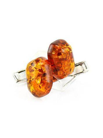 Geometric Silver Cufflinks With Natural Amber, image , picture 4