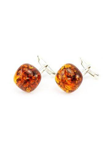 Silver Cufflinks With Cognac Amber The Copenhagen, image , picture 4