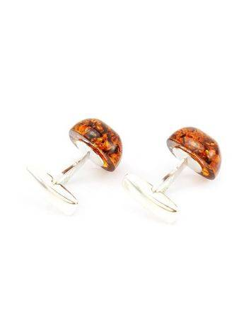 Silver Cufflinks With Cognac Amber The Copenhagen, image , picture 2