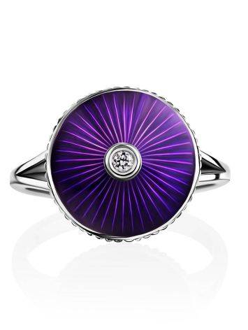 Deep Purple Enamel Ring With Diamond Centerstone The Heritage, Ring Size: 8.5 / 18.5, image , picture 4