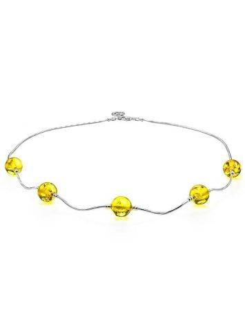 Silver Chain Necklace With Lemon Amber, image , picture 4