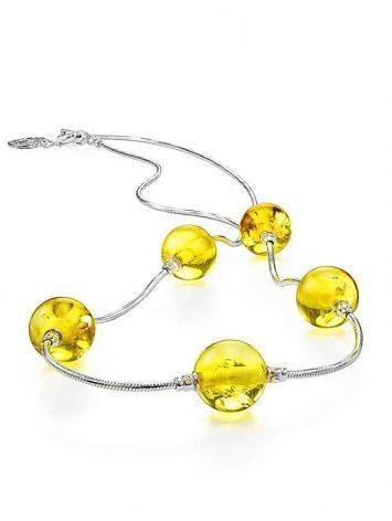 Silver Chain Necklace With Lemon Amber, image , picture 3