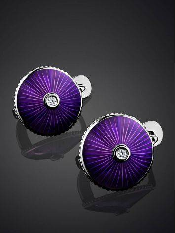 Round Silver Earrings With Enamel And Diamonds The Heritage, image , picture 2