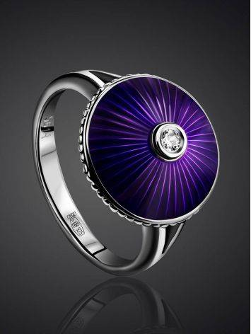 Deep Purple Enamel Ring With Diamond Centerstone The Heritage, Ring Size: 8.5 / 18.5, image , picture 2