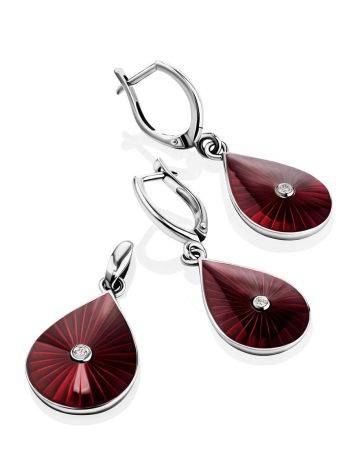 Silver Enamel Drop Earrings With Diamonds The Heritage, image , picture 4