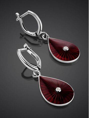 Silver Enamel Drop Earrings With Diamonds The Heritage, image , picture 2