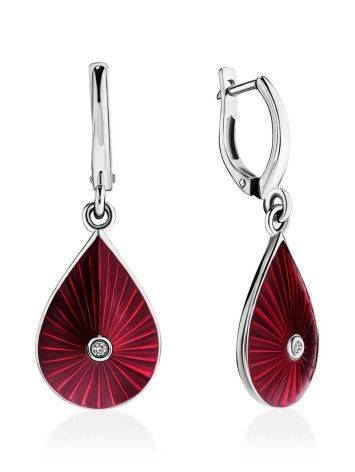 Silver Enamel Drop Earrings With Diamonds The Heritage, image