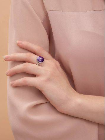 Deep Purple Enamel Ring With Diamond Centerstone The Heritage, Ring Size: 8.5 / 18.5, image , picture 3