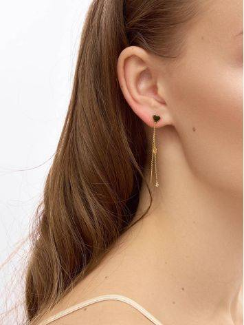 Refined Gold Plated Dangle Earrings With Crystals, image , picture 3