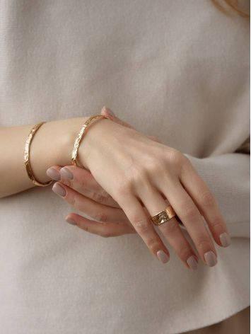 Trendy Textured Rose Gold Bangle Bracelet The Liquid, image , picture 4