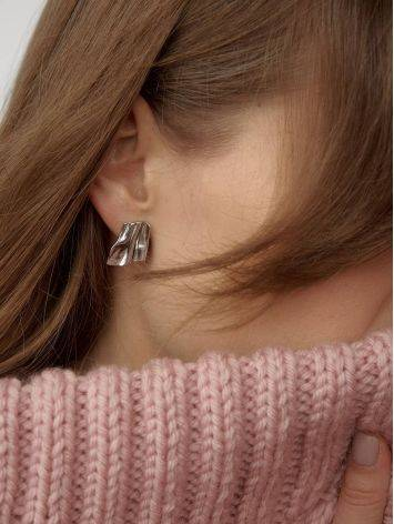 Stylish Modern Silver Earrings The Liquid, image , picture 4