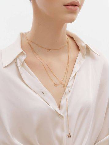 Multi Layer Golden Necklace With Crescent And Stars, image , picture 3