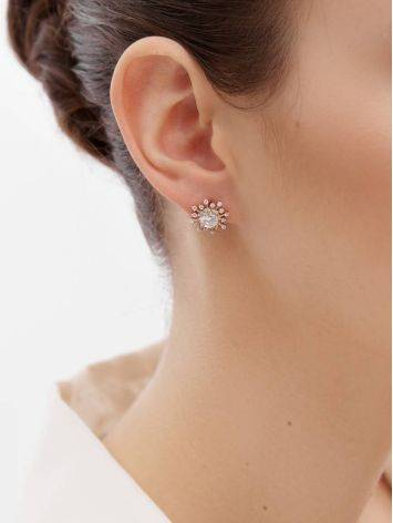 Snowflake Design Golden Earrings With Crystals, image , picture 3