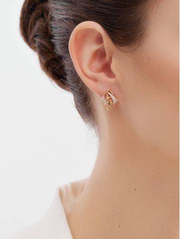 Amazing Crystal Encrusted Golden Earrings, image , picture 3