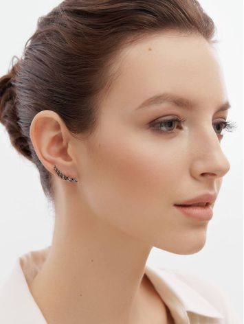 Crystal Ear Climber Earrings In Gold, image , picture 3